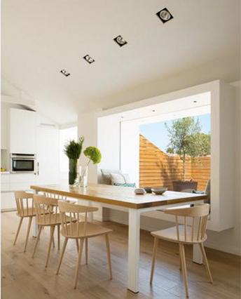Zania-Design-Gava-Cocina y mesa de madera y corian